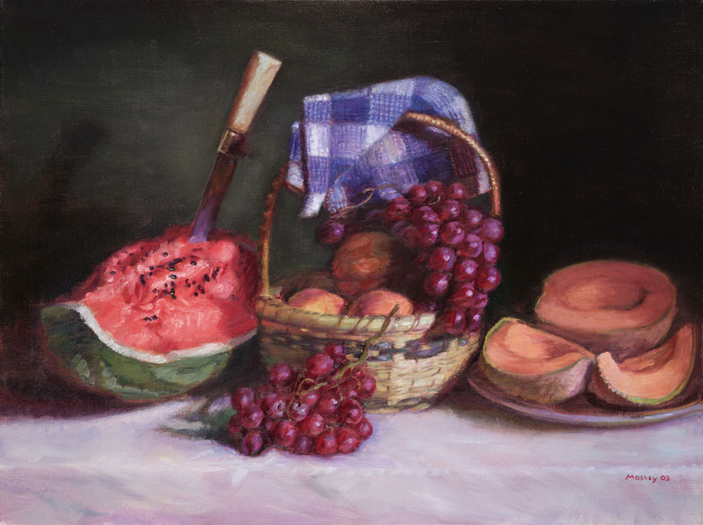 "Watermelon and Fruit Still Life, 24 x 32"", Oil on Linen"