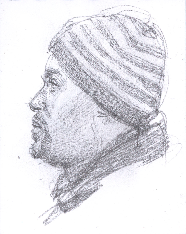 "Black Man on the Q Train to Brooklyn, 4.75 x 3.5"", Graphite"