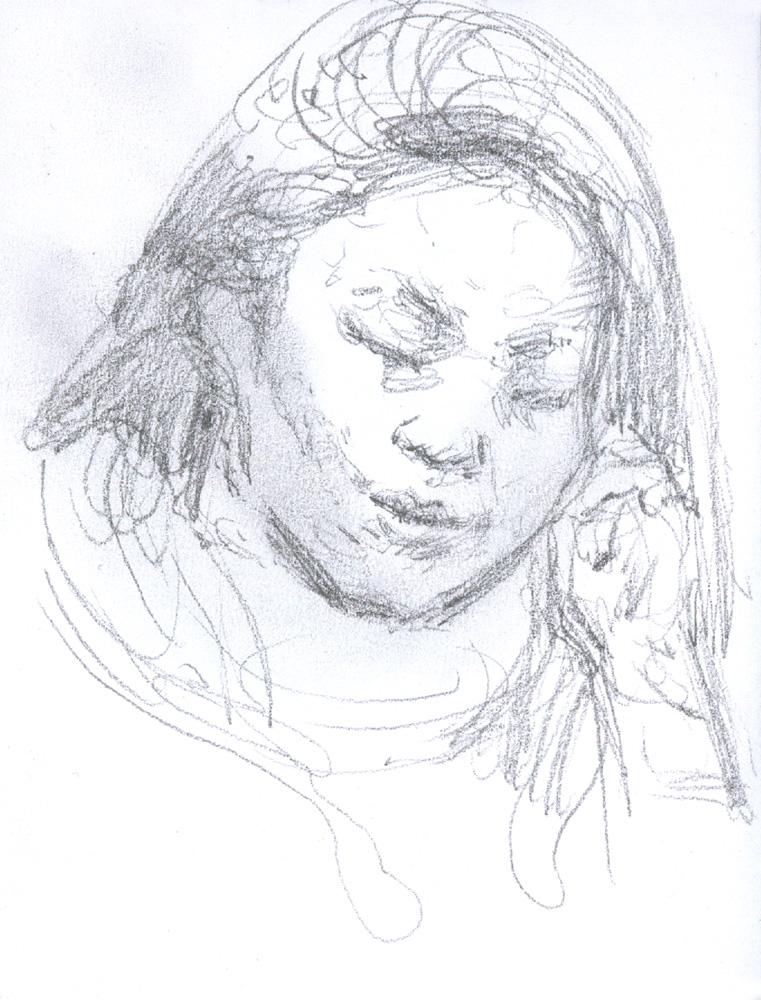 """Chinese Girl, 4.75 x 3.5"""", Graphite"""
