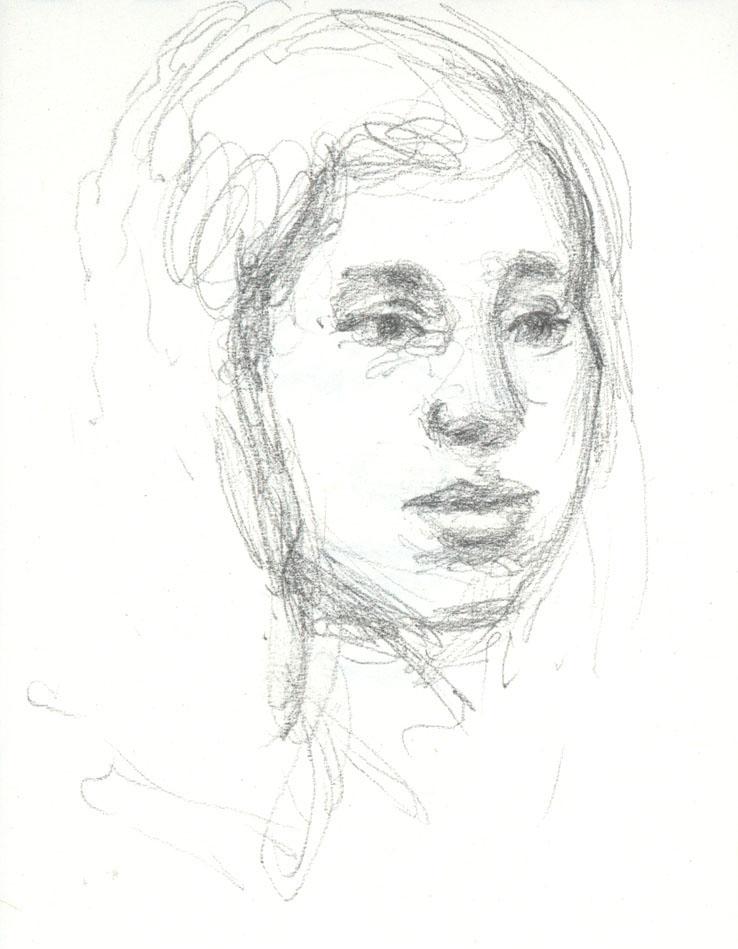 "Girl on Subway, 4.5 x 3.5"", Graphite"