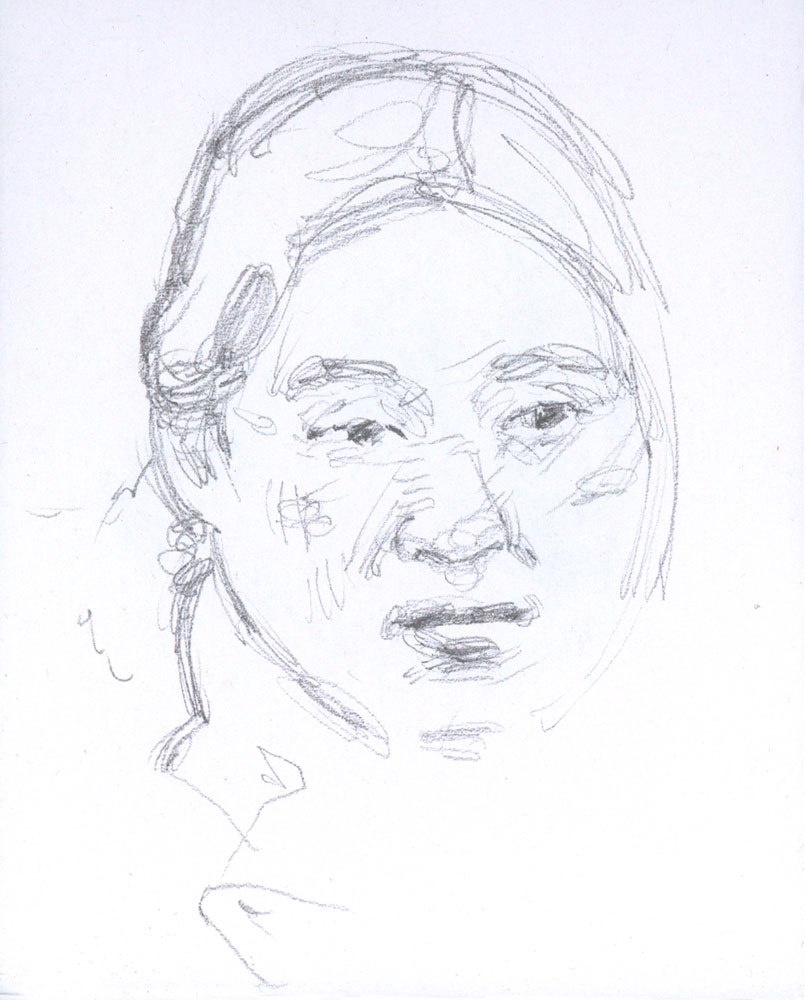 "Japanese Girl, January 13, 2015, 4.75 x3.5"", Graphite"
