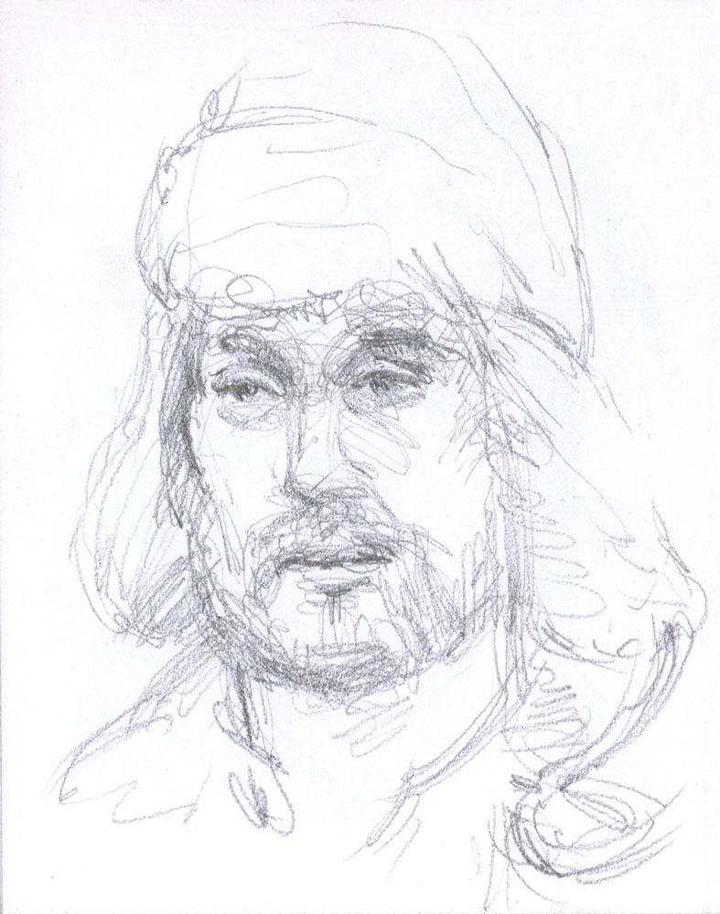 """Man in Fur Cap, 4.75 x 3.5"""", Graphite"""