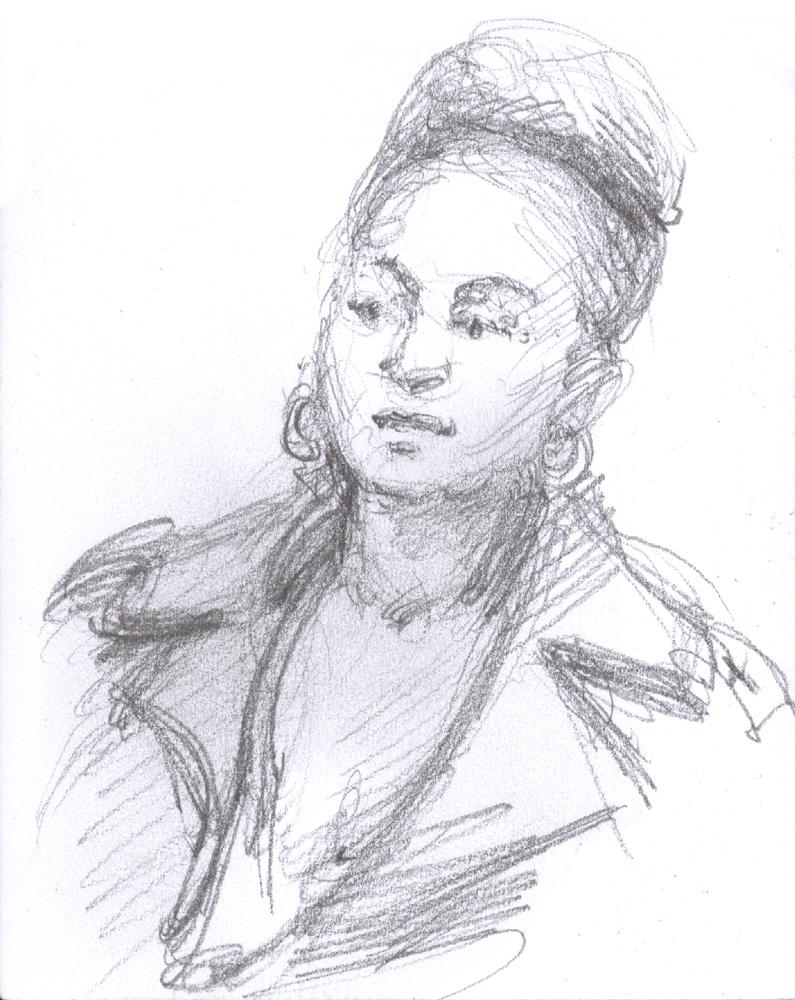 "Pretty Black Woman, 4.75 x 3.5"", Graphite"