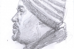 "Black Man on the Q Train to Brooklyn, 4.75 x 3.5"", Graphite"