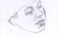 """Hispanic Girl, January 13, 2015, 4.75 x3.5"""", Graphite"""