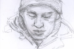 "Man in Knit Cap, 4.75 x 3.5"", Graphite"