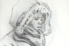 "Winter Coat, 5 x 3.5"", Graphite pencil"
