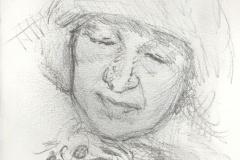 "Woman in Fur Cap, 5 x 3.5"", Graphite"