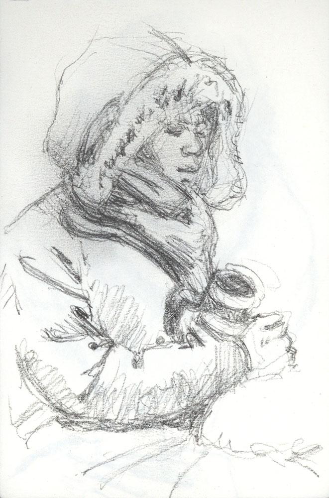 """Winter Coat, 5 x 3.5"""", Graphite pencil"""
