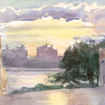 """Sunset at Grand Street, 9x12"""", Watercolor, Accepted into 5th Annual Plein Air Salon, July 2014, presented by PleinAir Magazine"""