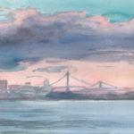 Manhattan and Booklyn Bridges at Sunset, May 31, 2014
