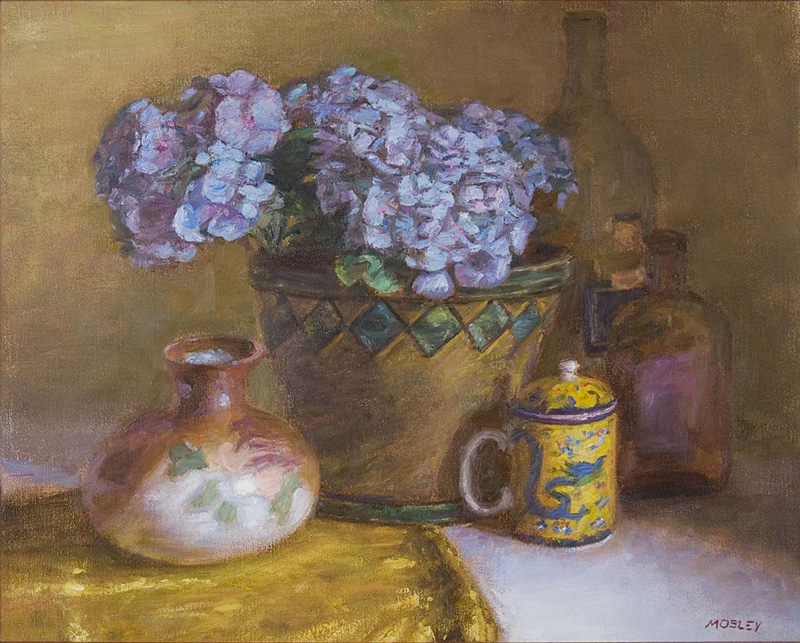 "Blue Hydrangeas, 18x22"", Oil on linen"