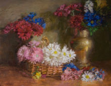 Flowers in a Basket and Brass Vase