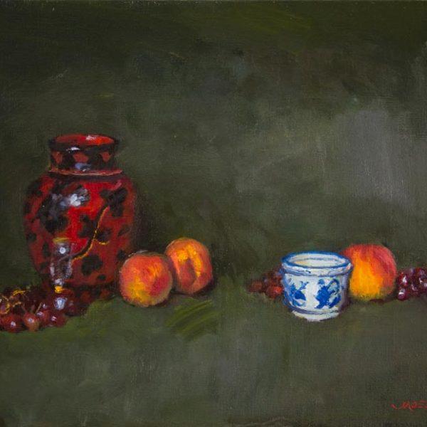 Peaches with Blue Ceramic