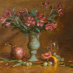 Pink Lilies, Oxidized Vase