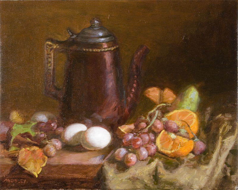 "Pitcher with Oranges Eggs, 16x20"", Oil on linen"