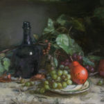 Red Pear with Grapes and Bottle