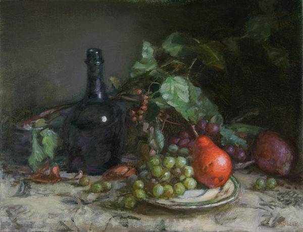 Red Pear, Grapes, Bottle