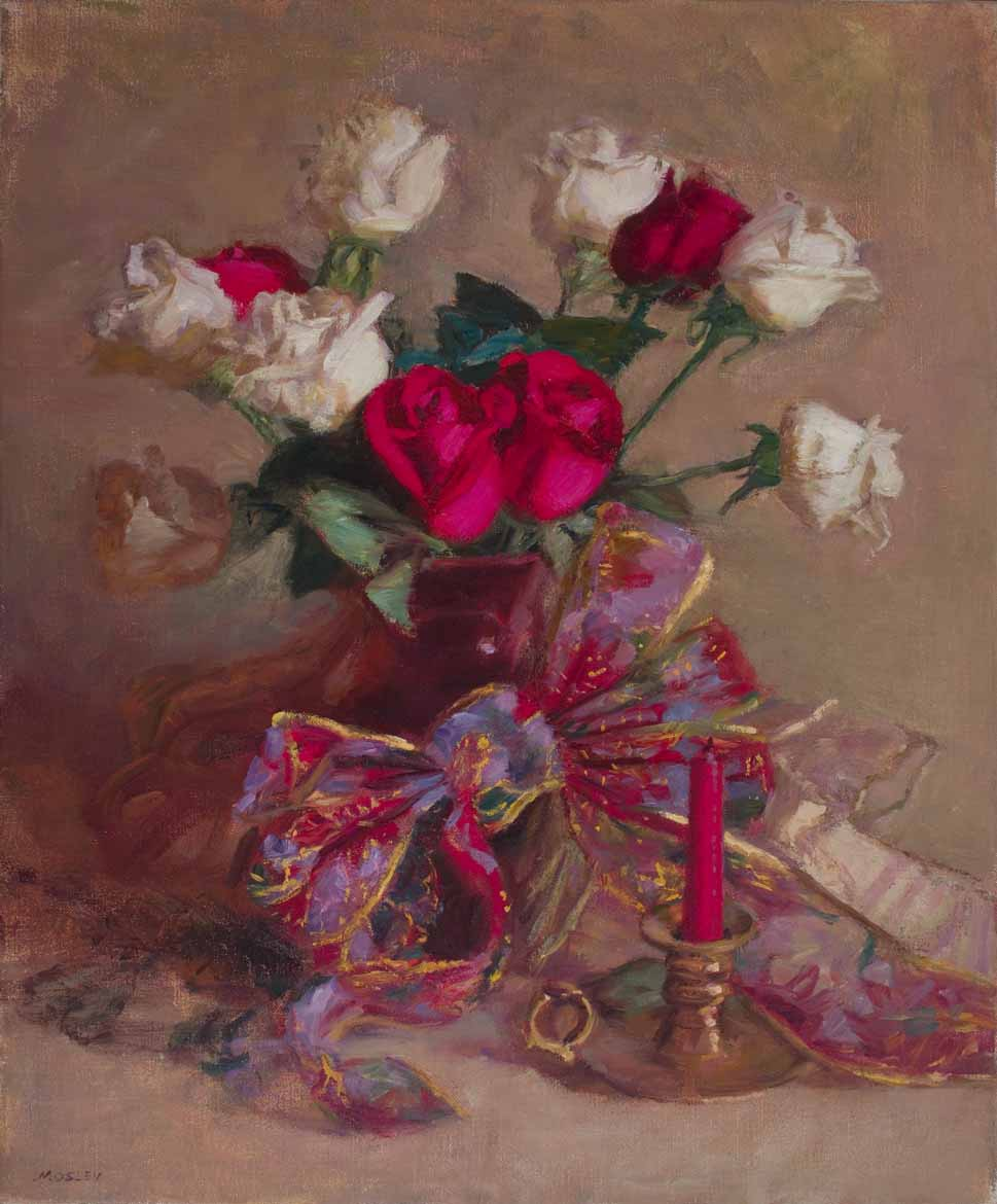 "Red and White Roses, 2005, 20x24"", Oil on linen, Exhibited Salmagundi Christmas Theme Exhibition, Salmagundi Club, New York, NY, 2005"