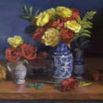 Red and Yellow Roses in Blue Ceramic Vase