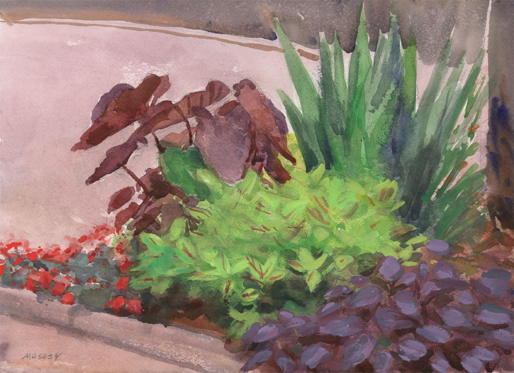 "Conservatory Garden, June 2, 2015, 10 x 14"", Watercolor and gouache, Exhibited North East Watercolor Society 2016 Annual Members Exhibition, Middletown, NY"