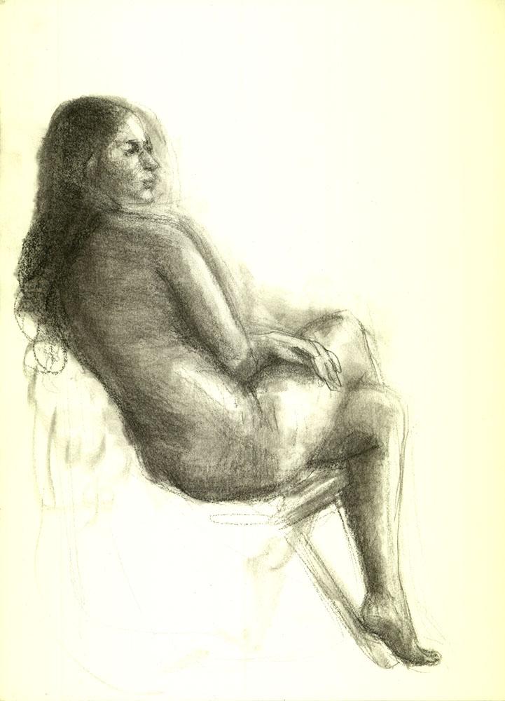 "Hispanic Model, December 18, 2014, 12 x 9"", Charcoal"
