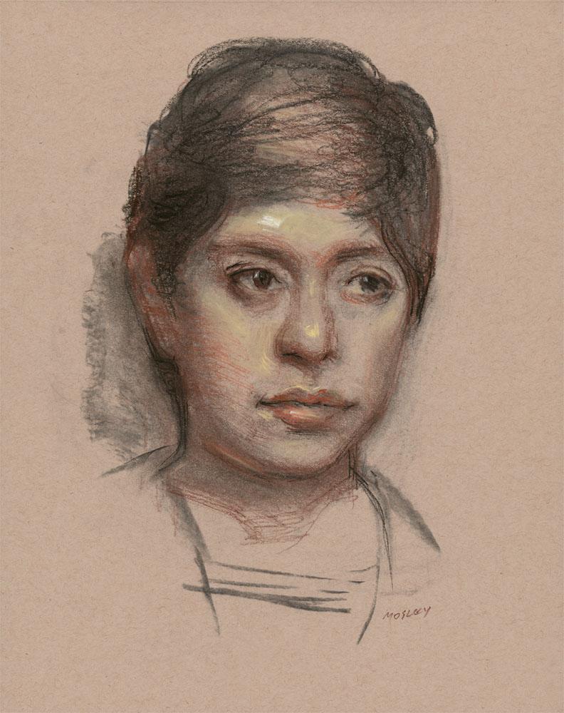 "Pamela, 14 x 11"", Charcoal and pastel"