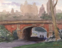 "Drip Rock Arch in Spring, 2015, 9 x 12"", Watercolor, SOLD"