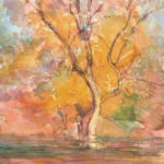 """Fall in the Mall, 2013, 14 x 10"""" Watercolor and watercolor pencil w/touches of gouache"""
