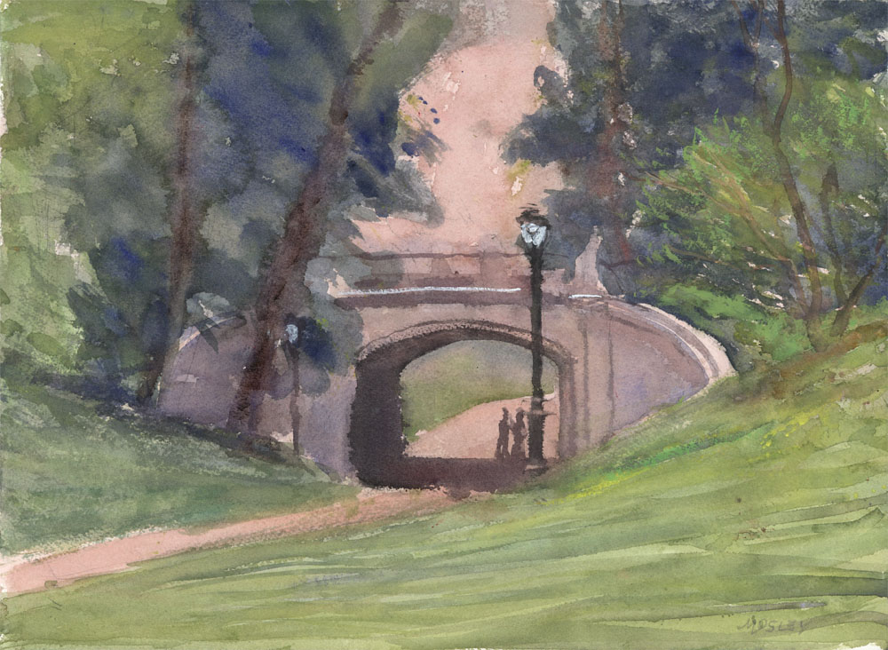 "Dipway Arch in Spring, 11 x 14"", Watercolor w/ touches of gouche"