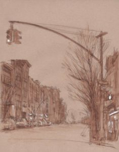 "Grand Street, April 2015, 14x11"", Watercolor pencil and gouche"