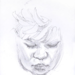 "Down View of Black Woman, 4.75 x 3.5"", Graphite"