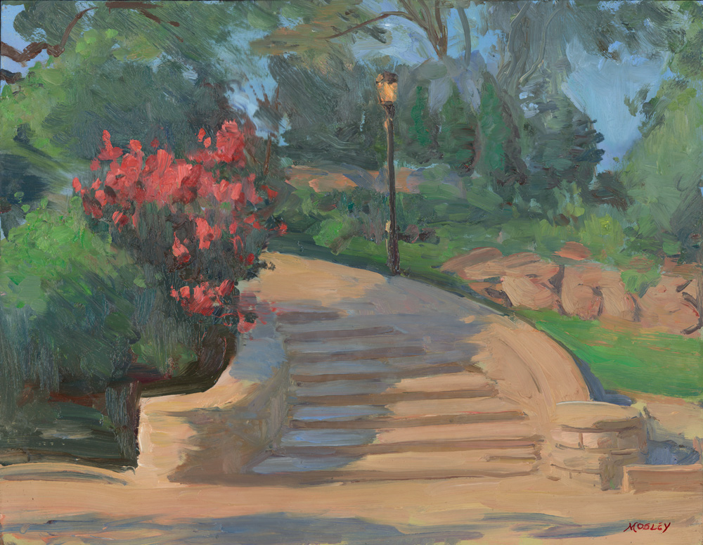 """Stairs at Carl Schurz Park, 14 x 18"""", Oil on panel"""