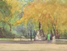 "The Mall in Fall, 2015, 10 x 14"", Watercolor, Exhibited North East Watercolor Society 2016 Annual Members Exhibition, Middletown, NY"