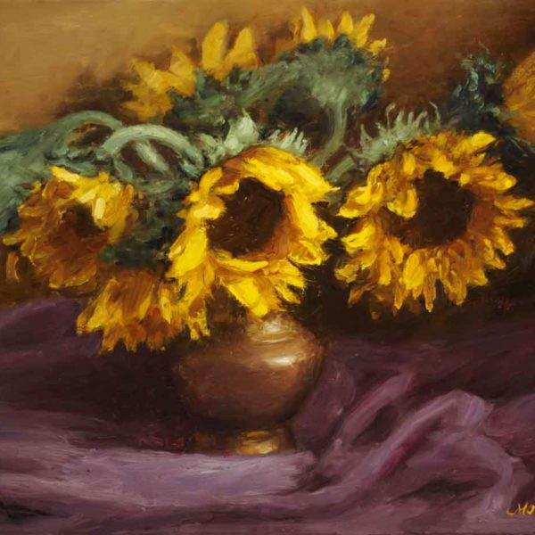 Sunflowers w/Purple Drapery