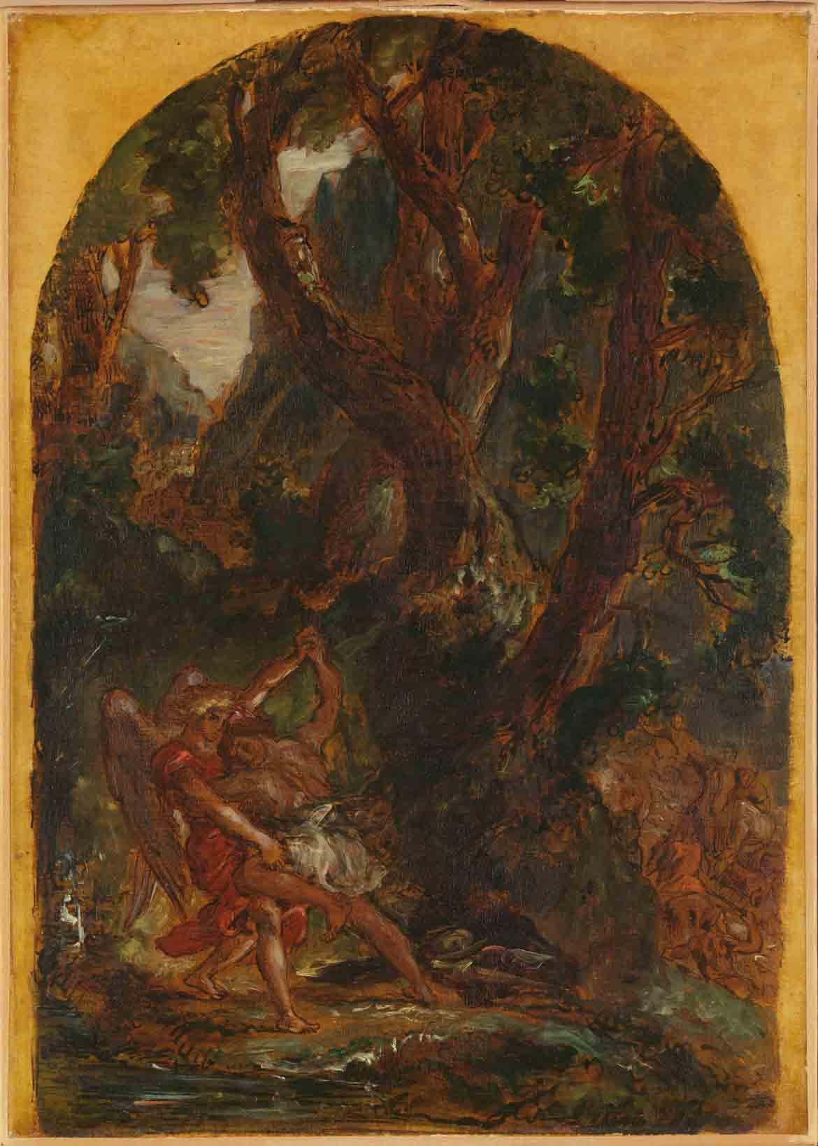 Jacob Wrestling with the Angel Eugène Delacroix exhibition at the Metropolitan Museum of Art